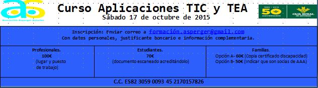 Matricula Curso Aplicaciones TIC y TEA octubre 2015
